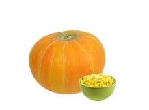 Bright green ceramic bowl full millet porridge with pumpkin Stock Photo