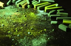 Bright green chalk crushed royalty free stock photos