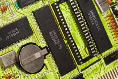 Bright green circuit board. Close up on a bright green circuit board Stock Images