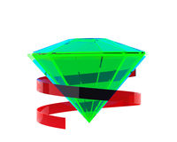 Bright green emerald with red ribbon Royalty Free Stock Photography