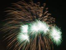 Bright green fireworks Royalty Free Stock Photos