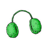 Bright green fluffy fur ear muffs Stock Photo