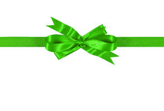 Bright green gift ribbon bow straight horizontal isolated on white background Royalty Free Stock Image