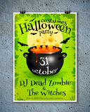 Bright green Halloween party poster template with Royalty Free Stock Image