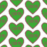 Bright green heart seamless pattern on a white background Royalty Free Stock Image