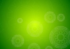 Bright green hi-tech background with gears Stock Image
