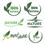 Bright green labels with leaves for organic, natural, eco or bio products isolated. Set of bright green labels with leaves for organic, natural, eco or bio royalty free illustration