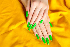 Bright green manicure on real nails Stock Image
