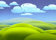 Bright green meadow and clouds in the distance. Digital illustration of bright green meadow and clouds in the distance Stock Photography