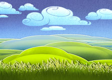 Bright green meadow. Digital illustration of bright green meadow Stock Photos