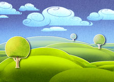 Bright green meadow and green round trees. Digital illustration of bright green meadow and three round trees Royalty Free Stock Image