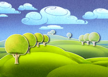 Bright green meadow and round trees. Digital illustration of bright green meadow and forest Royalty Free Stock Photos