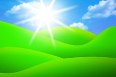 Bright green meadows, sky and sun Stock Photos