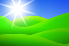 Bright green meadows and sun Stock Images