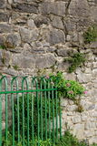 Bright green metal gate set against old stonewall Stock Photo