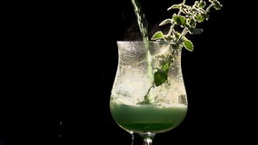 Bright Green Mint Drink stock video footage