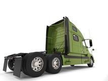 Bright green modern semi trailer truck - back view royalty free illustration