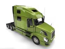 Bright green modern semi trailer truck - top down view stock illustration