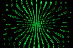 Bright green neon glow flux effect lines. Dynamic motion. Shiny particles vector illustration