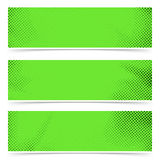Bright green old style pop art header flyer collection. Polka-dot particle header footer web cards. Vector illustration royalty free illustration