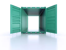 Bright green open empty metal shipping container on white backgr Stock Photo