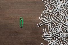 Bright green paper clip concept Stock Image