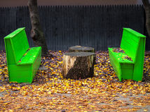 Bright green Park wooden benches on an Autumn Fall day with colorful leaves on the ground around the bench. Outdoor park with wooden bench painted bright green stock images