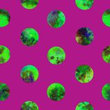 Bright green polka dot abstract grunge colorful splashes texture watercolor seamless pattern design on vine color. Background Royalty Free Stock Photos