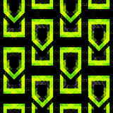 Bright green polygons on a black background seamless pattern vector illustration Stock Image
