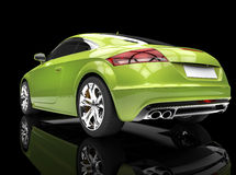 Bright Green Powerful Car On Black Background Royalty Free Stock Images