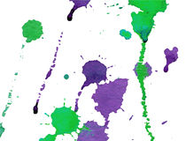 Bright green and purple watercolor splashes and blots on white background. Stock Images