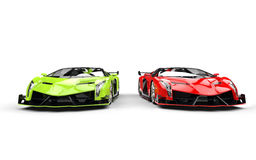 Bright green and red supercars Royalty Free Stock Images