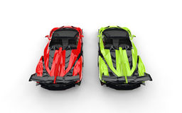 Bright green and red supercars Stock Photo