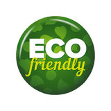 Bright green round button with words `Eco friendly` Royalty Free Stock Images
