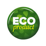 Bright green round button with words `Eco Product` Stock Image