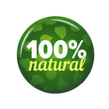 Bright green round button with words `100% Natural`. On white background. Circle label for organic food shop. Ecological tag vector illustration