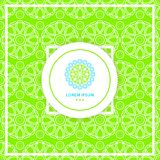 Bright green seamless background. Beautiful circular logo for boutique. Texture. Stock Images
