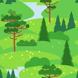 Green vector seamless pattern. Pine trees and bush, madows and hills. Bright green seamless background with coniferous trees, bushes and wild flowers Royalty Free Stock Image