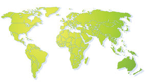 Bright green shiny World map Stock Images
