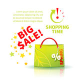 Bright green shopping bag Stock Photos