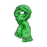 Bright green slip knotted winter knitted scarf with tassels. Sketch style vector illustrations isolated on white background. Hand drawn fluffy woolen scarf Stock Images