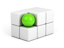 Bright green sphere out of the crowd concept Royalty Free Stock Photos
