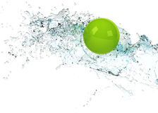 Bright green sphere in water splash Royalty Free Stock Photo