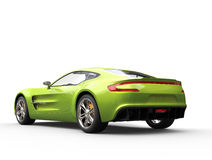 Bright green sports car - back view Royalty Free Stock Photo