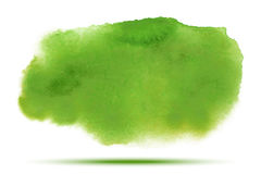 Bright green spring watercolor vector smear stain  on white background with realistic paper watercolor texture. Royalty Free Stock Photo