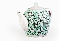 Bright green teapot Stock Images