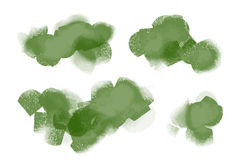 Bright green watercolor painted  stains set Royalty Free Stock Photos