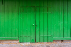 Bright Green Wooden Door Abstract Lime Farm Shed Entrance Closed Royalty Free Stock Images