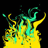 Bright green and yellow colored splashes in abstract shape on bl. Ack background stock illustration