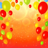 Bright Greeting Card (invitation) with balloons stock images